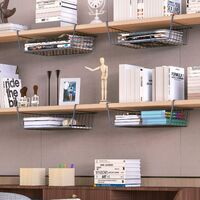 Under Shelf Storage Basket, Under Cabinet Hanging Metal Wire Storage Wire Basket Organizer Fit Dual Hooks for Kitchen Pantry Desk Bookshelf Cupboard (2pcs, Black)