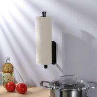 Kitchen Roll Holder under Cabinet, Paper Roll Holder Self Adhesive Paper Towel Holder SUS 304 Stainless Steel(black)