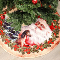 Christmas Tree Skirt for Christmas Tree Holiday Decorations Mat Flannel, Non-woven for Christmas New Year Decoration Home Party Decor (Santa Claus)