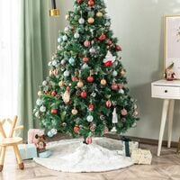Christmas Tree Skirt Faux Fur Carpet with Golden Snowflake Embroidery Christmas Party Christmas Tree Decoration Silver Glitter 78cm