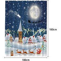 3D Christmas Digital Printing Cartoon Shower Curtain, Polyester Waterproof Partition Curtain, Bathroom Curtain 180 * 180cm)