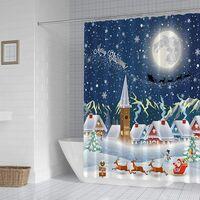3D Christmas Digital Printing Cartoon Shower Curtain, Polyester Waterproof Partition Curtain, Bathroom Curtain 180 * 200cm)