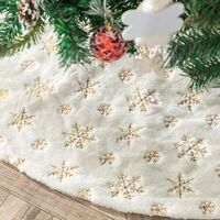 Christmas Tree Skirt Faux Fur Carpet with Golden Snowflake Embroidery Christmas Party Christmas Tree Decoration Golden Glitter 122cm