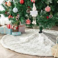 Christmas Tree Skirt Faux Fur Carpet with Golden Snowflake Embroidery Christmas Party Christmas Tree Decoration Silver Glitter 122cm