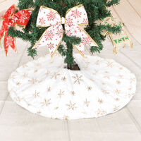 Christmas Tree Skirt Faux Fur Carpet with Golden Snowflake Embroidery Christmas Party Christmas Tree Decoration Golden Glitter 90cm