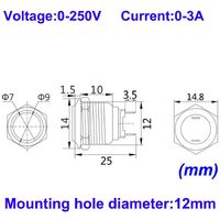 4pcs 12mm 3A 12V/24V/125V/250V AC Autobloquant Interrupteur Bouton Poussoir Étanche en Acier Inoxydable on Off Bouton-Poussoir Interrupteur(Tête Haute)