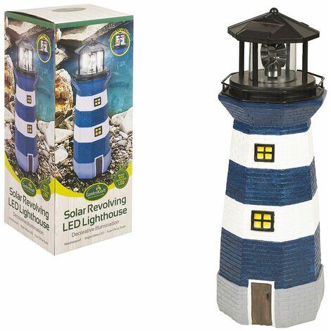 GardenKraft 11280 Solar Revolving LED Lighthouse/Blue and White / 40cm High/Auto-On At Dusk/Unique Garden Decoration