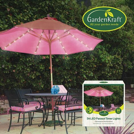 GardenKraft 17660 54 LED Parasol Timer Lights | Warm White |Auto Timer Functionality | Indoor/Outdoor String Lights
