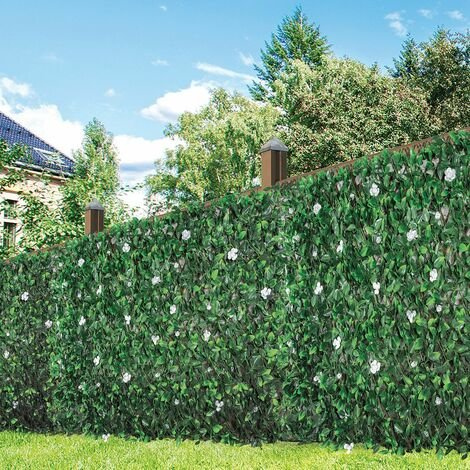 GardenKraft 26150 2.6m x 0.7m Peony Flower and Leaf Artificial Expandable Fence Panel UV Fade Protected/Privacy Screens/Garden Hedge Landscaping, Green