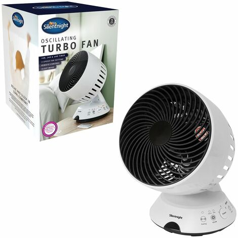 Silentnight 38190 3 Speed Touch Panel/Remote Control Desk Turbo Fan with Timer and 90 Degree Tilting Head, 45 W, White