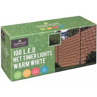GardenKraft 15650 Battery Operated Net Timer Light with 100 LED - Warm White