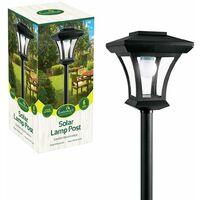 GardenKraft 19500 1.66m Single Head Solar Lamp Post   Decorative Outdoor Illumination   6 LED Lights   Traditional Garden Lighting   Weatherproof   Black