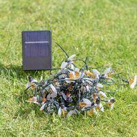 GardenKraft 50 Honey Bee String Lights / Warm White / Solar Powered / Decorative Novelty Garden Lighting / 8 Light Modes / Weatherproof IP44