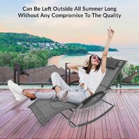 GardenKraft Outdoor Garden Rocking Chairs / 2 Styles Includes Pillow Or Side Bag/Steel Frame/Ultra-Durable Textilene Material/Black Or Grey Colours (Grey, With Pillow)