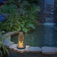 GardenKraft Metal Lighthouse with Solar Powered Candle Light / 33cm High / On-Off Switch / Unique Garden Decoration (Blue and White)