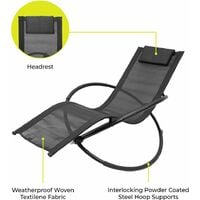 GardenKraft Louis Moon Chairs Rocking Sun Loungers/Garden Chairs with Pillow/Zero Gravity Effect/Steel Frame/Ultra-Durable Textilene Material/Grey Or Black Colour (Black)