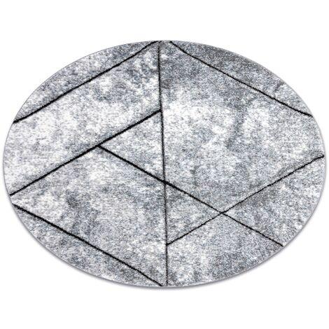 Tapis moderne COZY 8872 Cercle Wall, géométrique, triangles - Structural deux niveaux de molleton gris / bleu nuances de bleu cercle 120 cm