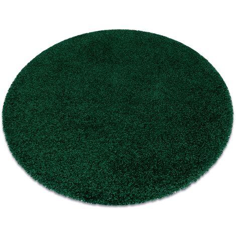 Tapis SOFFI Cercle shaggy 5cm bouteille verte nuances de vert cercle 80 cm
