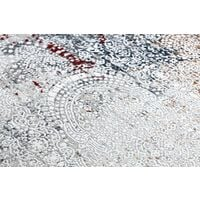 Tapis moderne REBEC franges 51151A Ornement vintage - deux niveaux de molleton gris / crème nuances de beige 160x220 cm