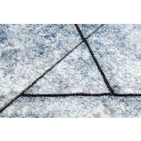 Tapis moderne COZY 8872 Wall, géométrique, triangles - Structural deux niveaux de molleton bleu nuances de bleu 200x290 cm
