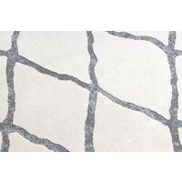 Tapis moderne REBEC franges 51135A - deux niveaux de molleton crème nuances de beige 80x150 cm