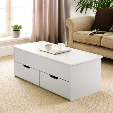 White Wooden Coffee Table With Lift Up Top and 2 Large Storage Drawers Bruges