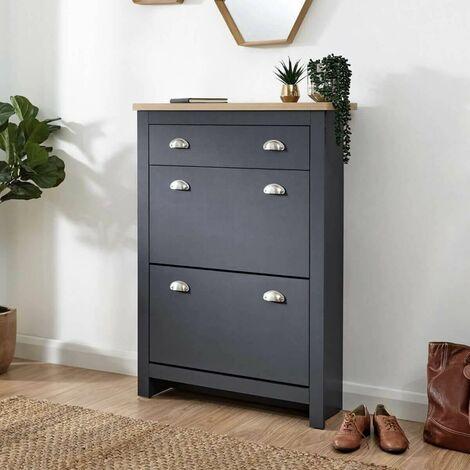 Graphite Grey Oak 2 Door Shoe Cabinet 1 Drawer Hallway Storage Cupboard