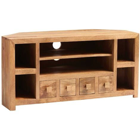 Contemporary Light Walnut Corner TV Media Plasma Unit Stand 6 Shelves 4 Drawers