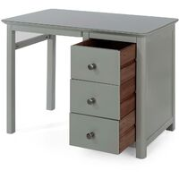 Grey Single Pedestal Dressing Table 3 Drawers Vanity Makeup Bedroom Desk