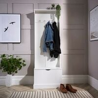 White Painted Wooden Hallway Storage Bench Unit with 4 Coat Hooks Bench Storage