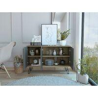 Sideboard or TV Stand Cabinet 3 Door Cupboard Bleached Pine & Stone Effect Doors