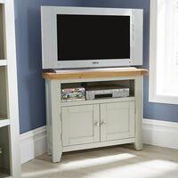 Modern Grey Solid Wood 2 Door Corner TV Plasma Stand Unit Cable Management