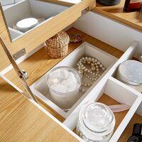 White Two Tone Dressing Table Vanity Set Square Mirror Makeup Desk Padded Stool