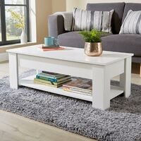 White Wooden Coffee Table With Lift Up Top Storage Area and Magazine Shelf