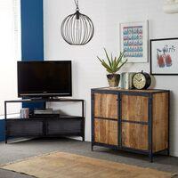 Loft Industrial Corner TV Unit Stand Distressed Rustic Reclaimed Wood Metal Door