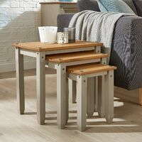 Corona Grey Pine Nest of Tables Set of 3 Occasional Coffee Side Table Mexican