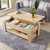 Oak Wooden Coffee Table With Lift Up Top Storage Area and Magazine Shelf