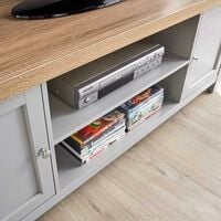 Grey Oak TV Stand Two Tone 2 Door Cabinet Television Unit Open Shelf Cable Tidy