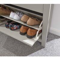 Grey Oak 2 Door Shoe Cabinet 1 Drawer Hallway Storage Cupboard Metal Handles