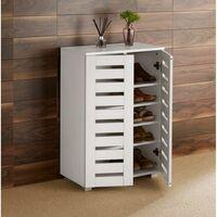 Oslo 2 Door White Wooden Shoe Storage Cabinet Rack Stand Cupboard Slatted Doors