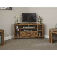 Particle Board Sturdy Walnut Effect 3 Drawer 3 Shelf Corner TV Stand Unit
