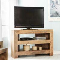 Light Solid Mango Wood Corner Tv Media Plasma Unit Stand 2 Shelves Matte Finish