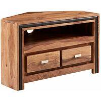 Contemporary Natural Solid Wood Corner TV Media Unit Stand 2 Doors 1 Shelf