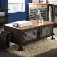 Industrial Wooden Coffee Table Centrepiece 2 Door Storage Black Metal Frame