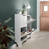 Narrow High Gloss White 4 Drawer Shoe Cabinet Rack Storage For 8 Pairs of Shoes