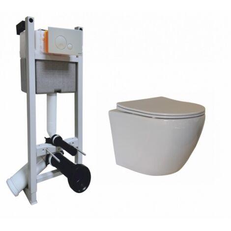 Pack WC Bâti-support Evo + Cuvette sans bride KELOS Blanc + Plaque Blanche