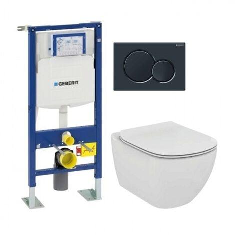 Pack WC Geberit UP320 + Cuvette AquaBlade TESI + Sigma noire