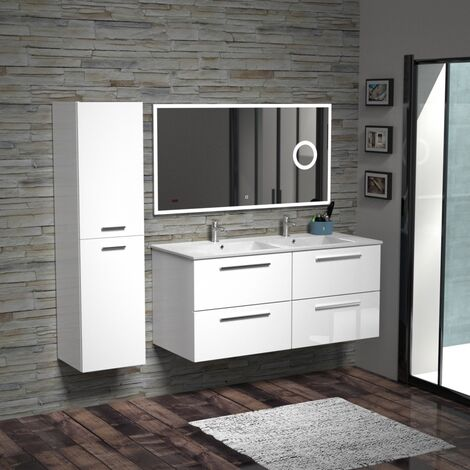 Meuble double vasque BIZ 120 cm Blanc Brillant + Miroir Lite