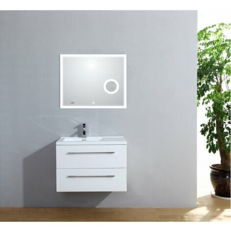 Meuble simple vasque 77 Saturn 2.0 Blanc Brillant miroir Lite