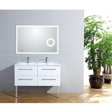 Meuble double vasque 117 Saturn 2.0 Blanc Brillant miroir Lite